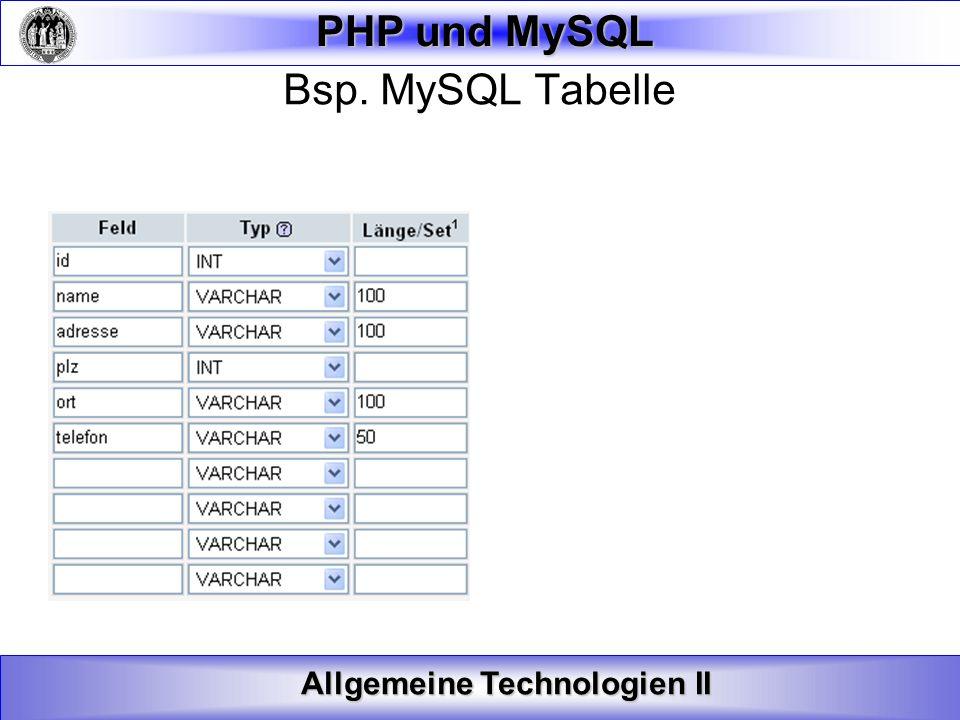 Allgemeine Technologien II PHP und MySQL Verbinden mit der Datenbank herstellen Syntax: mysql_connect(servername,username,password); Servername: Optional.