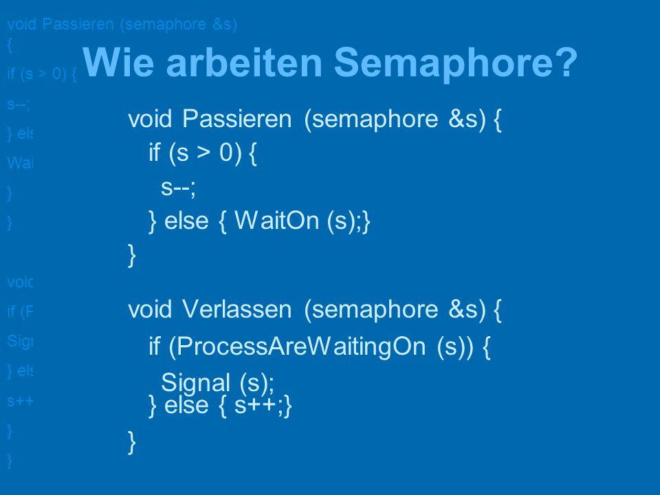 void Passieren (semaphore &s) { if (s > 0) { s--; } else { WaitOn (s); } void Verlassen (semaphore &s) { if (ProcessAreWaitingOn (s)) { Signal (s); } else { s++; } gegenseitiger Ausschluss semaphore aktiv= 1; void prozess_1() { for (;;) { P(aktiv); kritischer Bereich_1(); V(aktiv); macheWasAnderes(); } } void prozess_2() { for (;;) { P(aktiv); kritischer Bereich_2(); V(aktiv); macheWasAnderes();} zwei Prozesse sollen nicht gleichzeitig im kritischen Bereich sein.