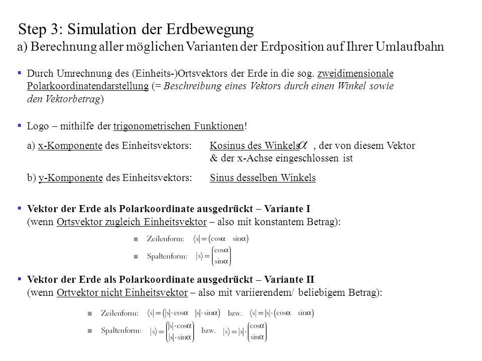 Step 3: Simulation der Erdbewegung a) Berechnung aller möglichen Varianten der Erdposition auf Ihrer Umlaufbahn Durch Umrechnung des (Einheits-)Ortsve