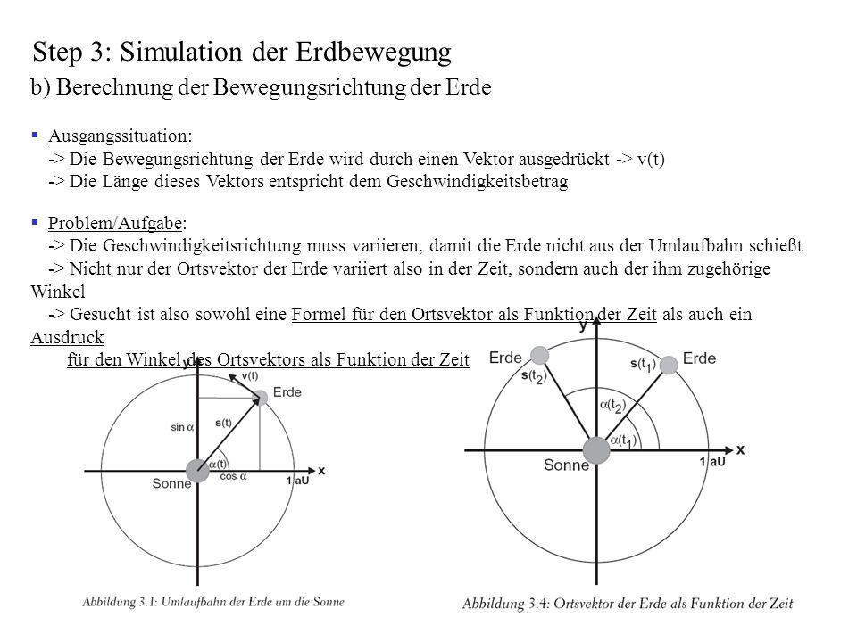 Step 3: Simulation der Erdbewegung b) Berechnung der Bewegungsrichtung der Erde Ausgangssituation: -> Die Bewegungsrichtung der Erde wird durch einen