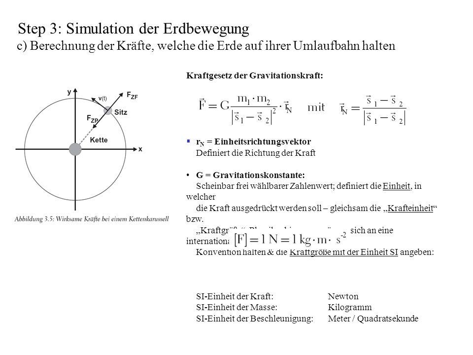 Step 3: Simulation der Erdbewegung c) Berechnung der Kräfte, welche die Erde auf ihrer Umlaufbahn halten Kraftgesetz der Gravitationskraft: r N = Einh