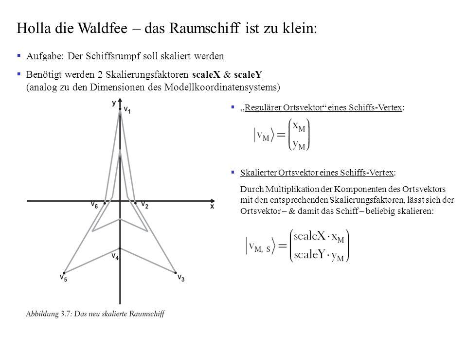 Aufgabe: Der Schiffsrumpf soll skaliert werden Benötigt werden 2 Skalierungsfaktoren scaleX & scaleY (analog zu den Dimensionen des Modellkoordinatens