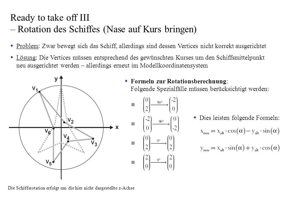 Problem: Zwar bewegt sich das Schiff, allerdings sind dessen Vertices nicht korrekt ausgerichtet Lösung: Die Vertices müssen entsprechend des gewünsch