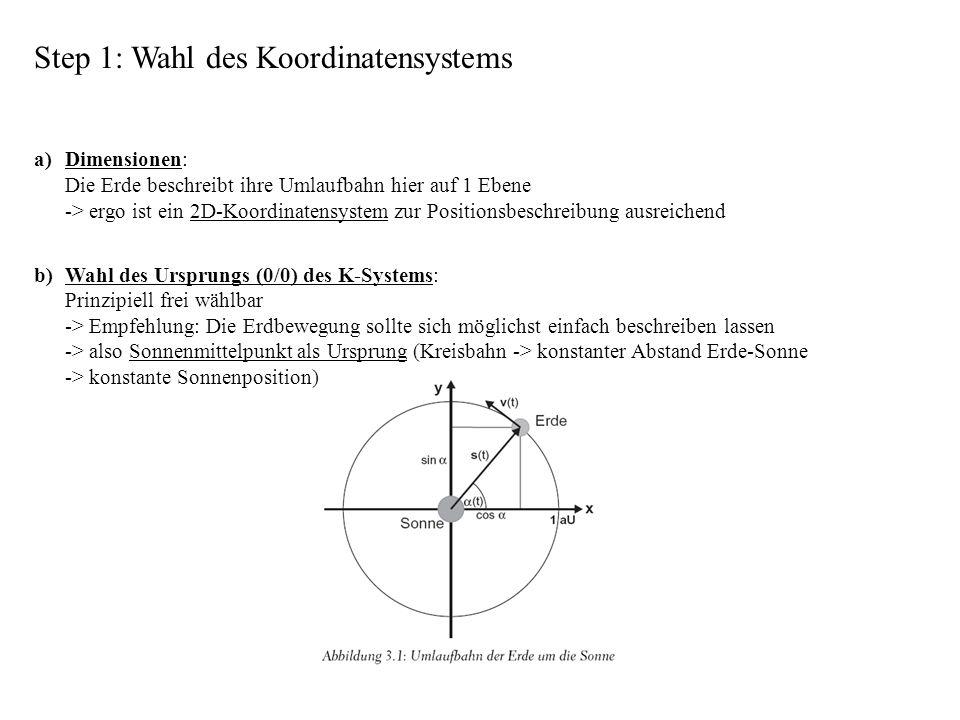 Step 1: Wahl des Koordinatensystems a) Dimensionen: Die Erde beschreibt ihre Umlaufbahn hier auf 1 Ebene -> ergo ist ein 2D-Koordinatensystem zur Posi