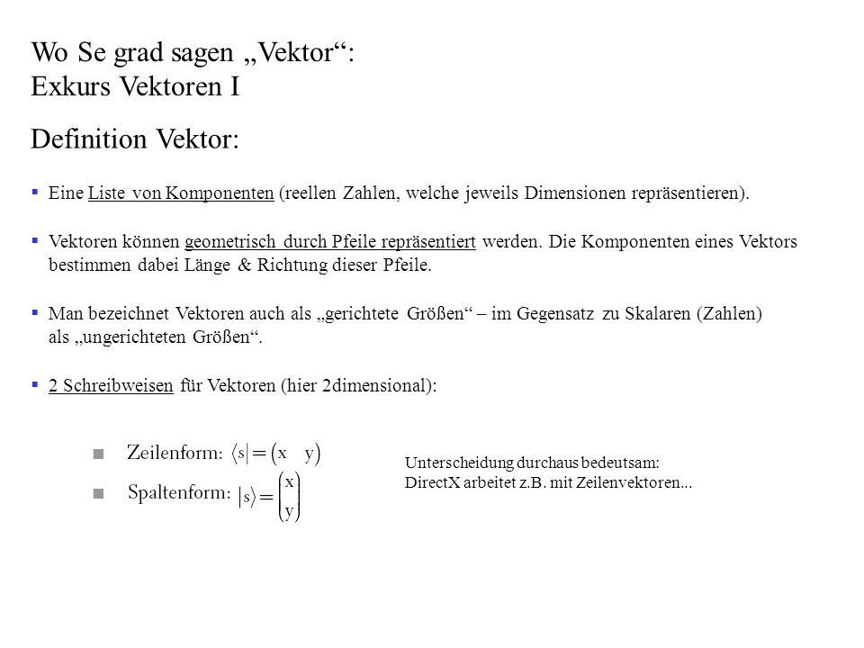 Wo Se grad sagen Vektor: Exkurs Vektoren II Vektorarten: Ortsvektor: Definiert den Ort eines Punktes (die Vektorkomponenten werden hier mit Punktkoordinaten identifiziert) Einheitsvektor: Vektor, dessen Betrag (Länge) gleich 1 ist.