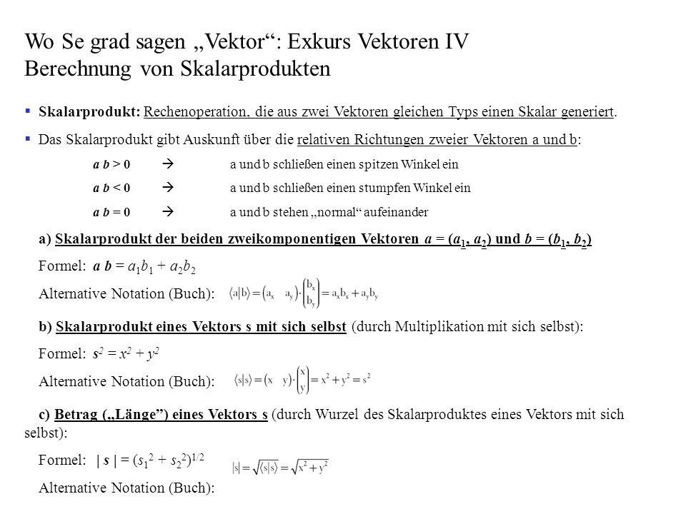 Wo Se grad sagen Vektor: Exkurs Vektoren IV Berechnung von Skalarprodukten Skalarprodukt: Rechenoperation, die aus zwei Vektoren gleichen Typs einen S