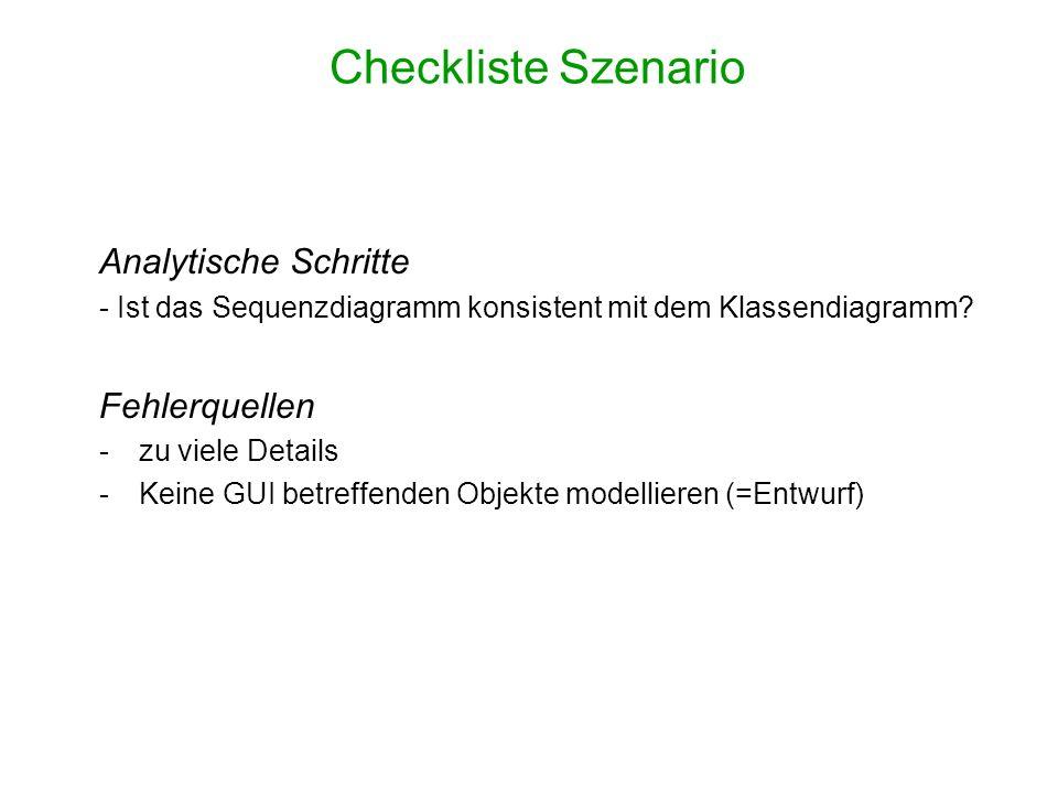 Checkliste Szenario Analytische Schritte - Ist das Sequenzdiagramm konsistent mit dem Klassendiagramm? Fehlerquellen -zu viele Details -Keine GUI betr