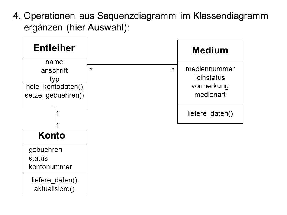 4. Operationen aus Sequenzdiagramm im Klassendiagramm ergänzen (hier Auswahl): Entleiher Medium Konto name anschrift typ mediennummer leihstatus vorme
