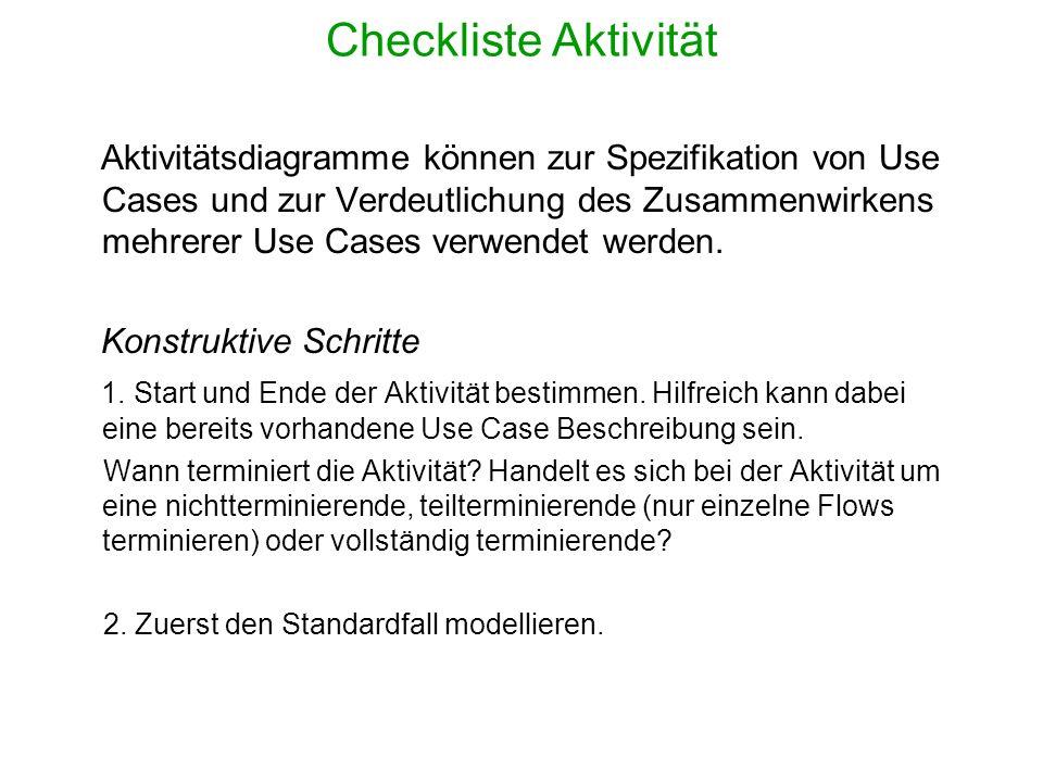 Checkliste Aktivität Aktivitätsdiagramme können zur Spezifikation von Use Cases und zur Verdeutlichung des Zusammenwirkens mehrerer Use Cases verwende