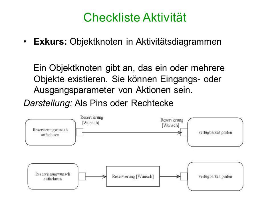 Checkliste Aktivität Exkurs: Objektknoten in Aktivitätsdiagrammen Ein Objektknoten gibt an, das ein oder mehrere Objekte existieren. Sie können Eingan