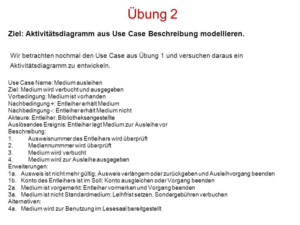 Übung 2 Ziel: Aktivitätsdiagramm aus Use Case Beschreibung modellieren. Wir betrachten nochmal den Use Case aus Übung 1 und versuchen daraus ein Aktiv