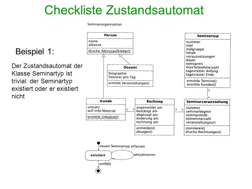 Checkliste Zustandsautomat Beispiel 1: Der Zustandsautomat der Klasse Seminartyp ist trivial: der Seminartyp existiert oder er existiert nicht