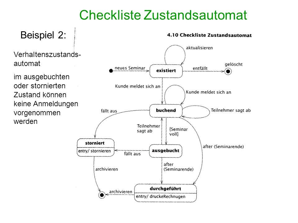 Checkliste Zustandsautomat Beispiel 2: VerhaItenszustands- automat im ausgebuchten oder stornierten Zustand können keine Anmeldungen vorgenommen werde