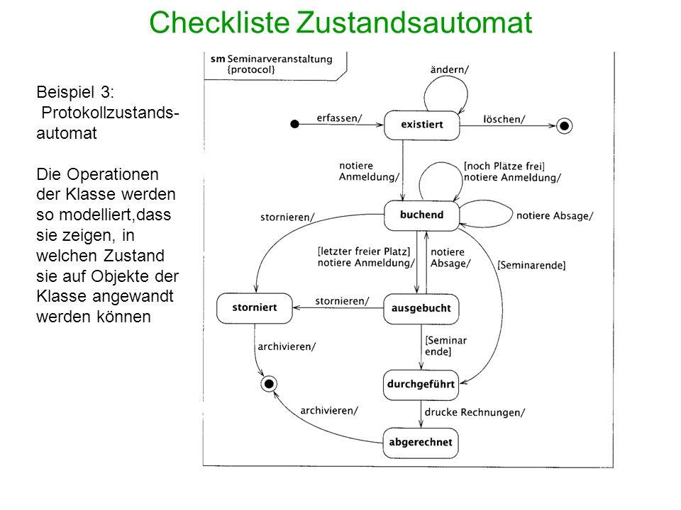 Checkliste Zustandsautomat Beispiel 3: Protokollzustands- automat Die Operationen der Klasse werden so modelliert,dass sie zeigen, in welchen Zustand