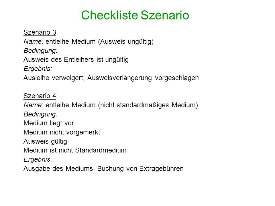 Checkliste Szenario Szenario 3 Name: entleihe Medium (Ausweis ungültig) Bedingung: Ausweis des Entleihers ist ungültig Ergebnis: Ausleihe verweigert,