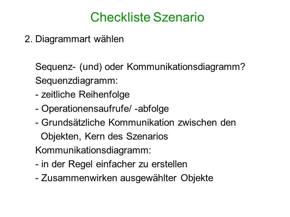 Checkliste Szenario 2. Diagrammart wählen Sequenz- (und) oder Kommunikationsdiagramm? Sequenzdiagramm: - zeitliche Reihenfolge - Operationensaufrufe/