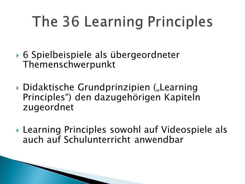 6 Spielbeispiele als übergeordneter Themenschwerpunkt Didaktische Grundprinzipien (Learning Principles) den dazugehörigen Kapiteln zugeordnet Learning