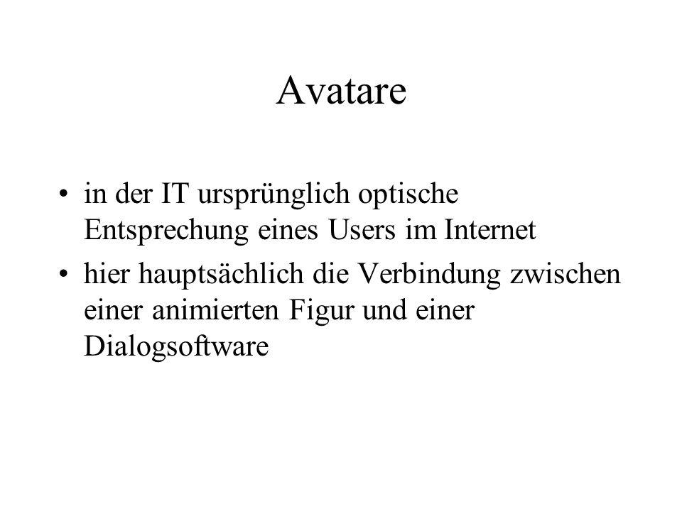 Beispiele für Avatare in Business und Marketing Cor@, die virtuelle Kundenberaterin der Deutschen Bank PIA, die Agentin des Club Bertelsmann der Bausparfuchs von Schwäbisch-Hall (www.schwaebisch-hall.de) Robert T-Online, Kampagne zum Börsengang der T-Online Intenational AG im Jahr 2000