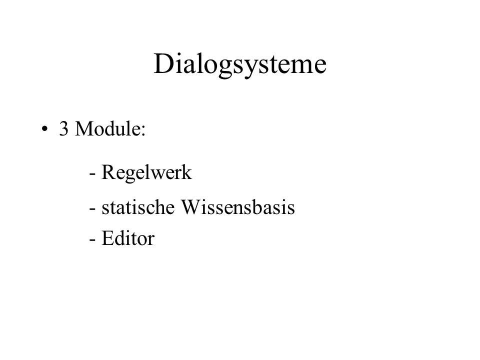 Dialogsysteme 3 Module: - Regelwerk - statische Wissensbasis - Editor