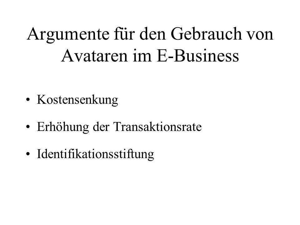 Argumente für den Gebrauch von Avataren im E-Business Kostensenkung Erhöhung der Transaktionsrate Identifikationsstiftung