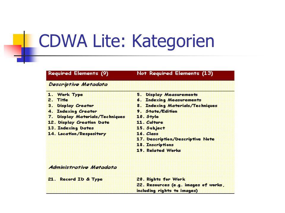 CDWA Lite: Kategorien