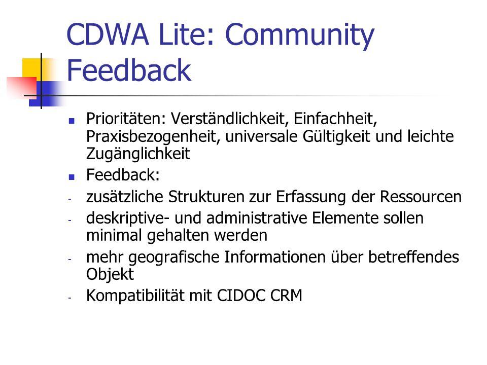 CDWA Lite: Community Feedback Prioritäten: Verständlichkeit, Einfachheit, Praxisbezogenheit, universale Gültigkeit und leichte Zugänglichkeit Feedback
