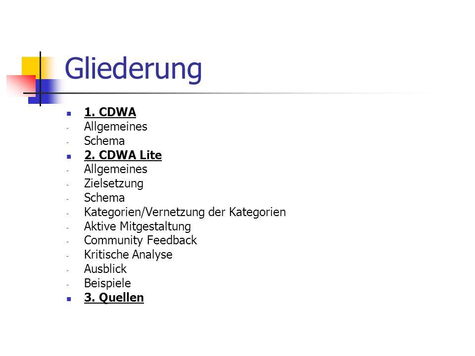 CDWA: Allgemeines CDWA = Categories for the Description of Works of Art Metadatenstandard definiert Kategorien zur Beschreibung und zum Zugang zu Informationen über Kunst, Architektur oder anderweitigen Objekten der materiellen Kunst in frühen 1990ern entwickelt, interdisziplinäre Zusammenarbeit aktuelle Version: CDWA 2.0 - beinhaltet 532 Kategorien und Subkategorien