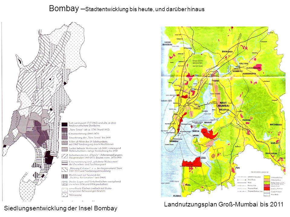 Bombay – Stadtentwicklung bis heute, und darüber hinaus Landnutzungsplan Groß-Mumbai bis 2011 Siedlungsentwicklung der Insel Bombay