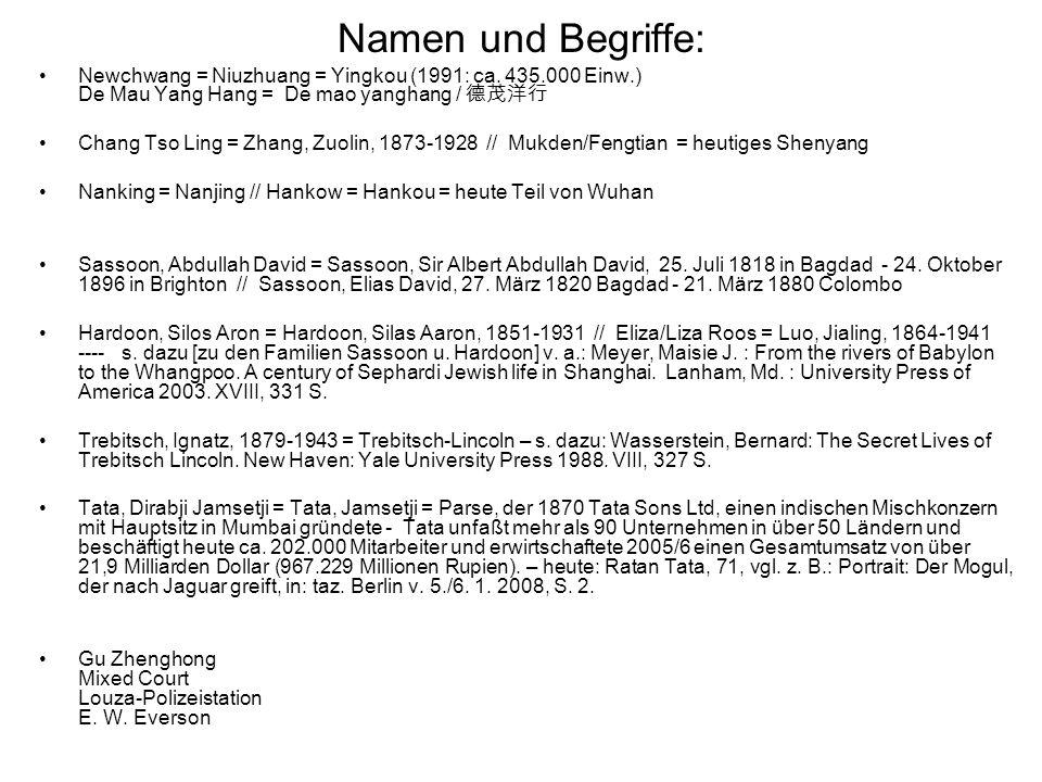 Namen und Begriffe: Newchwang = Niuzhuang = Yingkou (1991: ca. 435.000 Einw.) De Mau Yang Hang = De mao yanghang / Chang Tso Ling = Zhang, Zuolin, 187
