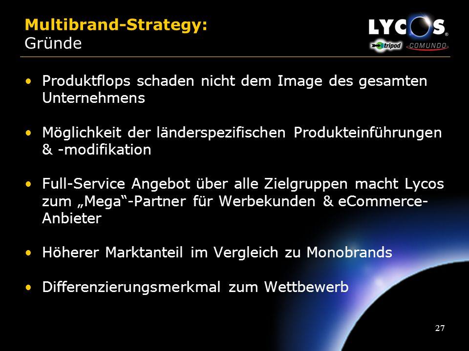 26 Multibrand-Strategy: Gründe Zielgruppenspezifische Positionierung ermöglicht die Marktführerschaft in unterschiedlichen Segmenten Differenzierte Us