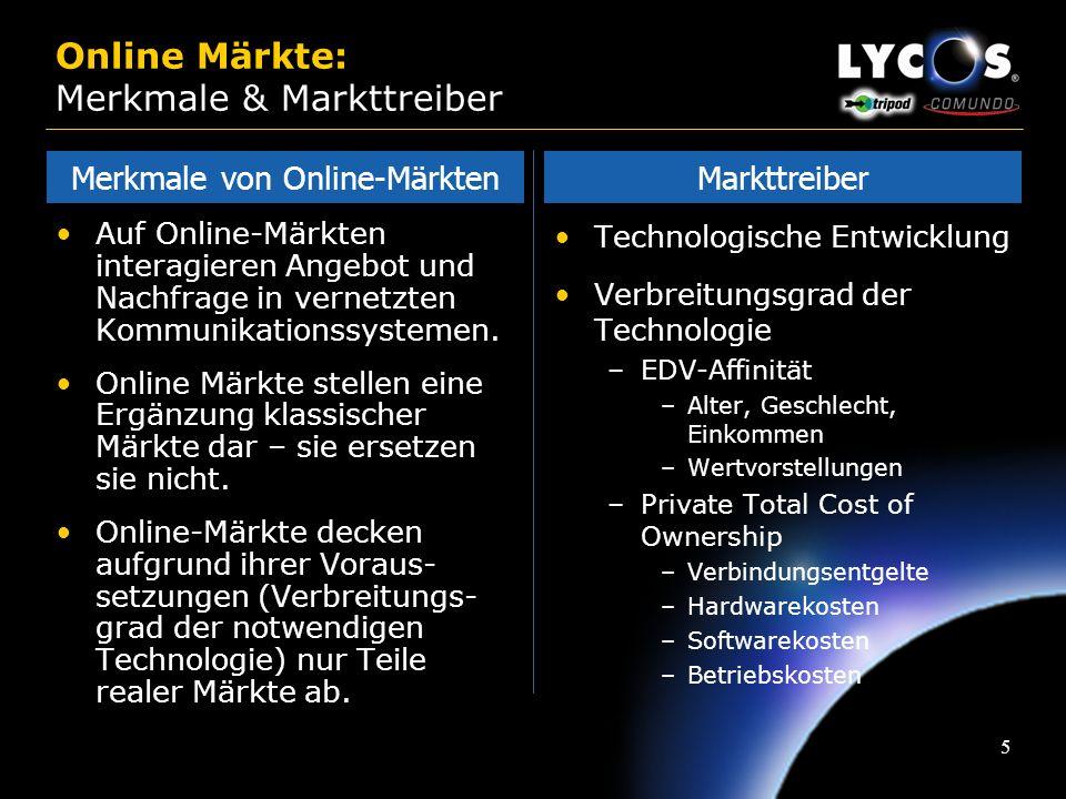 15 Online Märkte: Marktdaten Reichweite Top 10 Properties Deutschland Quelle: Media Metrix (August 2000), nur private Nutzung Lycos Sites