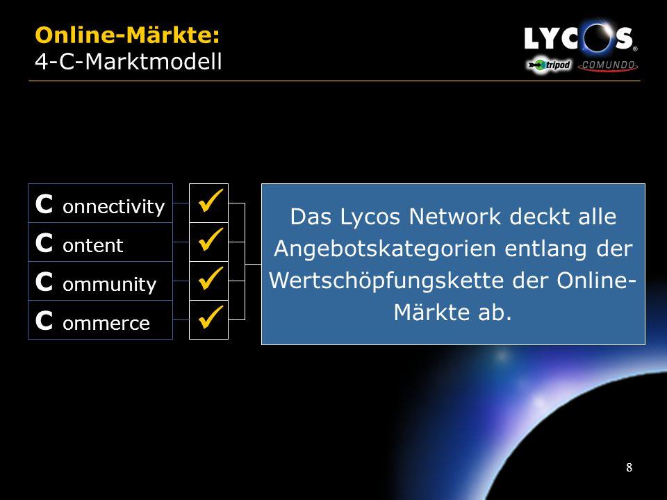 8 Online-Märkte: 4-C-Marktmodell C onnectivity C ontent C ommerce C ommunity Das Lycos Network deckt alle Angebotskategorien entlang der Wertschöpfungskette der Online- Märkte ab.