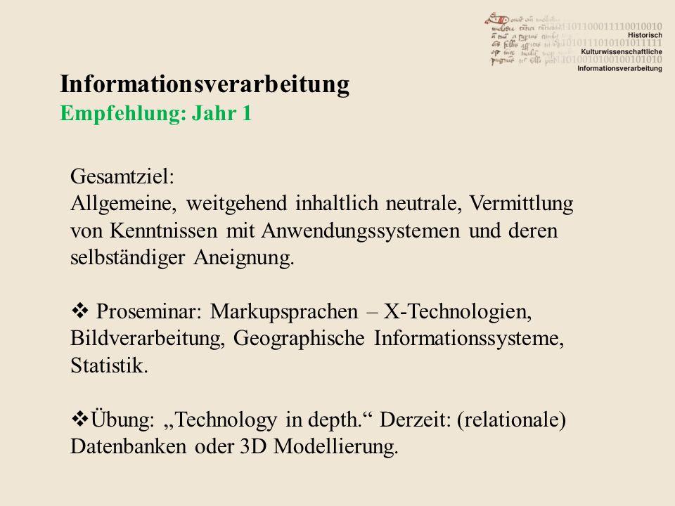 Informationsverarbeitung Empfehlung: Jahr 1 Gesamtziel: Allgemeine, weitgehend inhaltlich neutrale, Vermittlung von Kenntnissen mit Anwendungssystemen und deren selbständiger Aneignung.