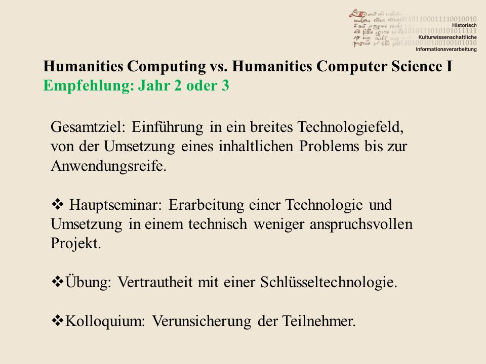 Humanities Computing vs.