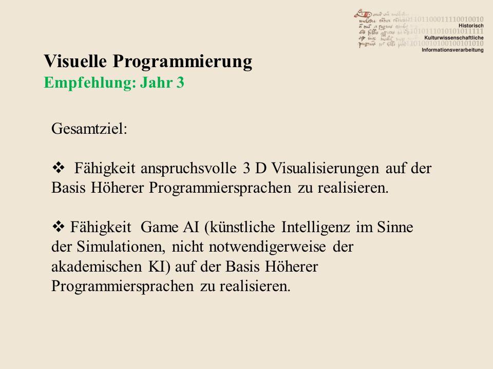 Visuelle Programmierung Empfehlung: Jahr 3 Gesamtziel: Fähigkeit anspruchsvolle 3 D Visualisierungen auf der Basis Höherer Programmiersprachen zu realisieren.