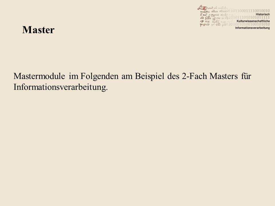 Mastermodule im Folgenden am Beispiel des 2-Fach Masters für Informationsverarbeitung. Master