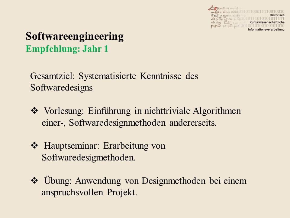 Softwareengineering Empfehlung: Jahr 1 Gesamtziel: Systematisierte Kenntnisse des Softwaredesigns Vorlesung: Einführung in nichttriviale Algorithmen einer-, Softwaredesignmethoden andererseits.