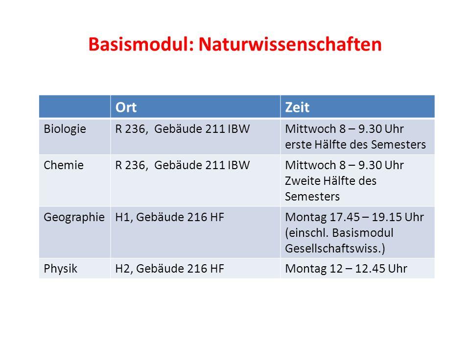Basismodul: Naturwissenschaften OrtZeit BiologieR 236, Gebäude 211 IBWMittwoch 8 – 9.30 Uhr erste Hälfte des Semesters ChemieR 236, Gebäude 211 IBWMit