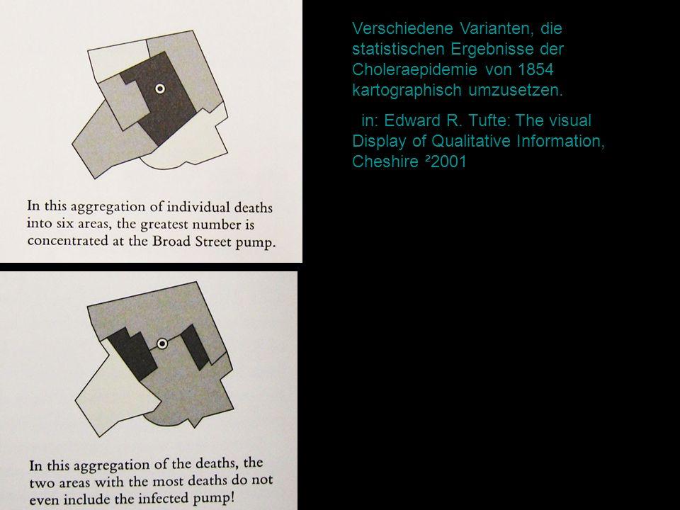 Verschiedene Varianten, die statistischen Ergebnisse der Choleraepidemie von 1854 kartographisch umzusetzen.