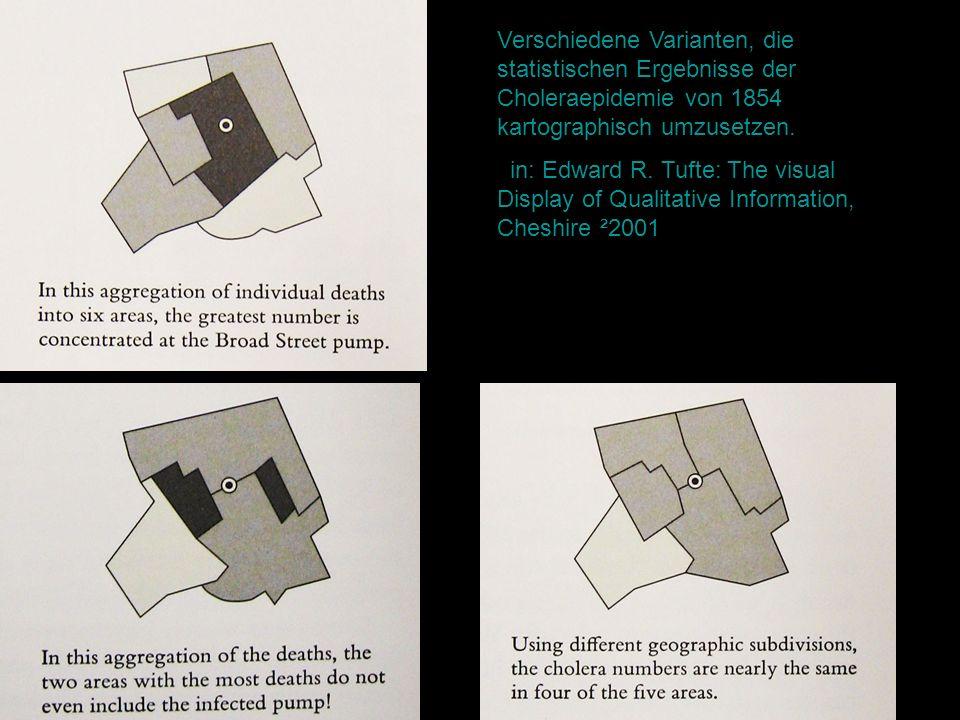 Verschiedene Varianten, die statistischen Ergebnisse der Choleraepidemie von 1854 graphisch umzusetzen.
