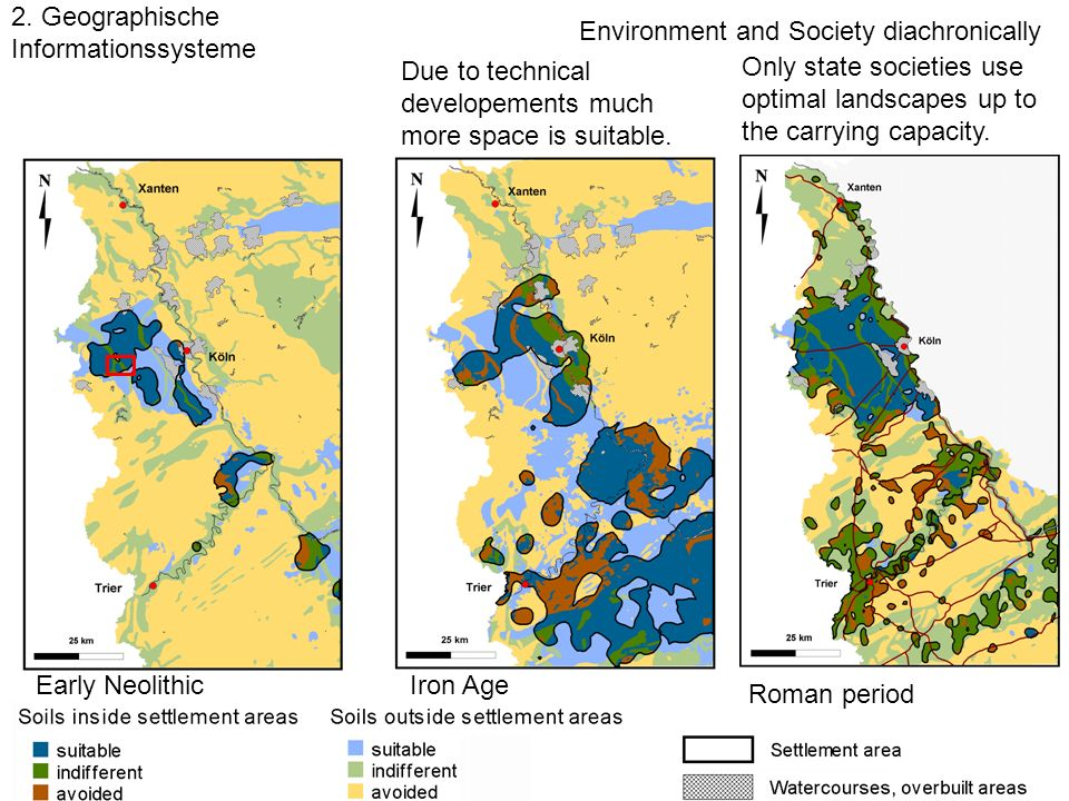 2. Geographische Informationssysteme Environment and Society diachronically Only state societies use optimal landscapes up to the carrying capacity. D