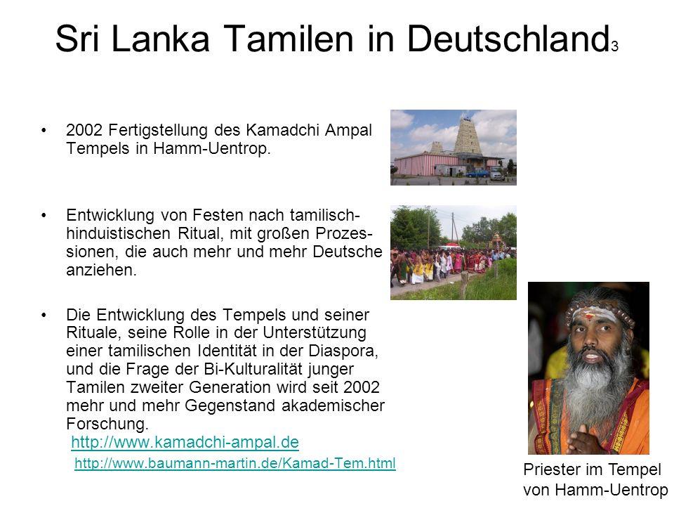 Sri Lanka Tamilen in Deutschland 3 2002 Fertigstellung des Kamadchi Ampal Tempels in Hamm-Uentrop. Entwicklung von Festen nach tamilisch- hinduistisch