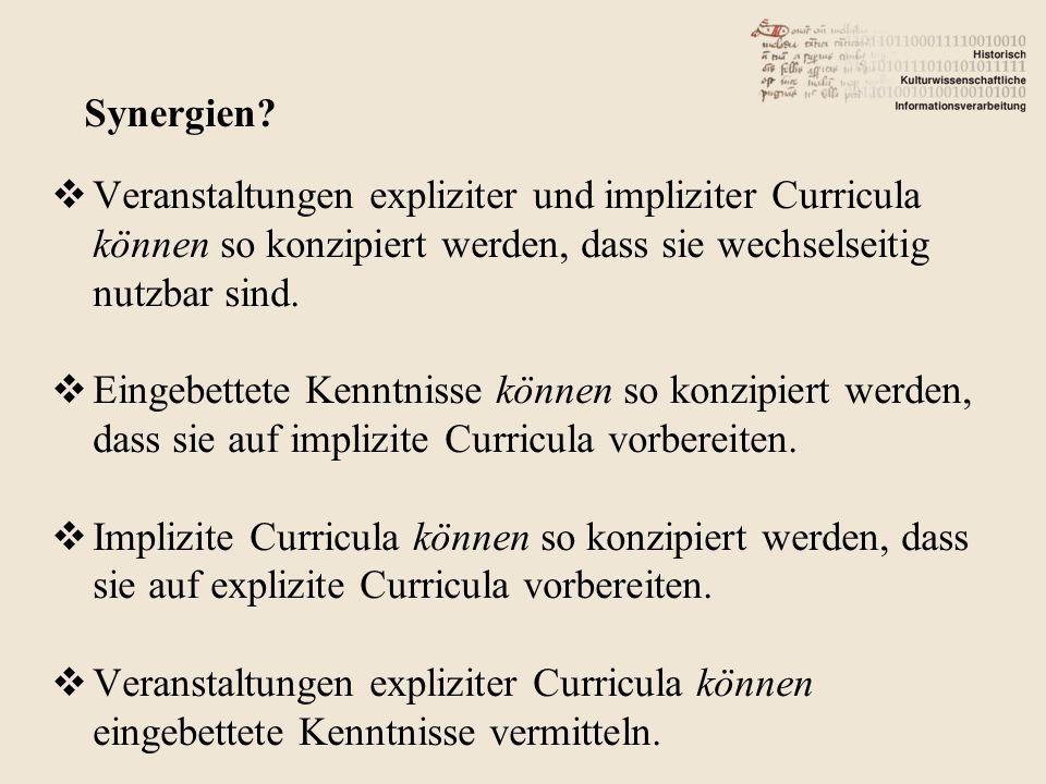 Veranstaltungen expliziter und impliziter Curricula können so konzipiert werden, dass sie wechselseitig nutzbar sind. Eingebettete Kenntnisse können s