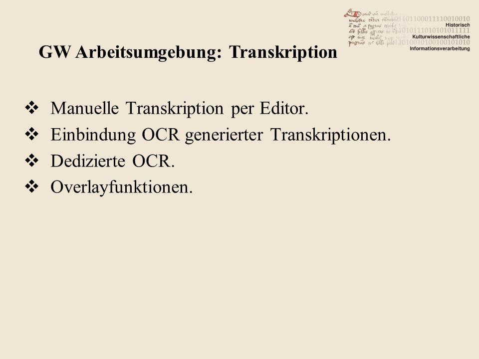 Manuelle Transkription per Editor. Einbindung OCR generierter Transkriptionen.