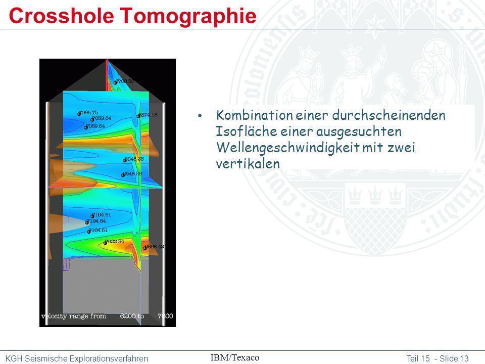 KGH Seismische Explorationsverfahren Teil 15 - Slide 13 Crosshole Tomographie IBM/Texaco Kombination einer durchscheinenden Isofläche einer ausgesucht