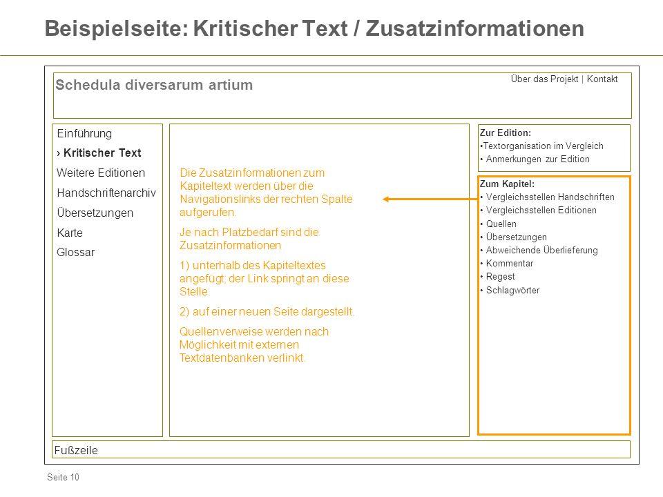 Seite 10 Beispielseite: Kritischer Text / Zusatzinformationen Schedula diversarum artium Einführung Kritischer Text Weitere Editionen Handschriftenarc