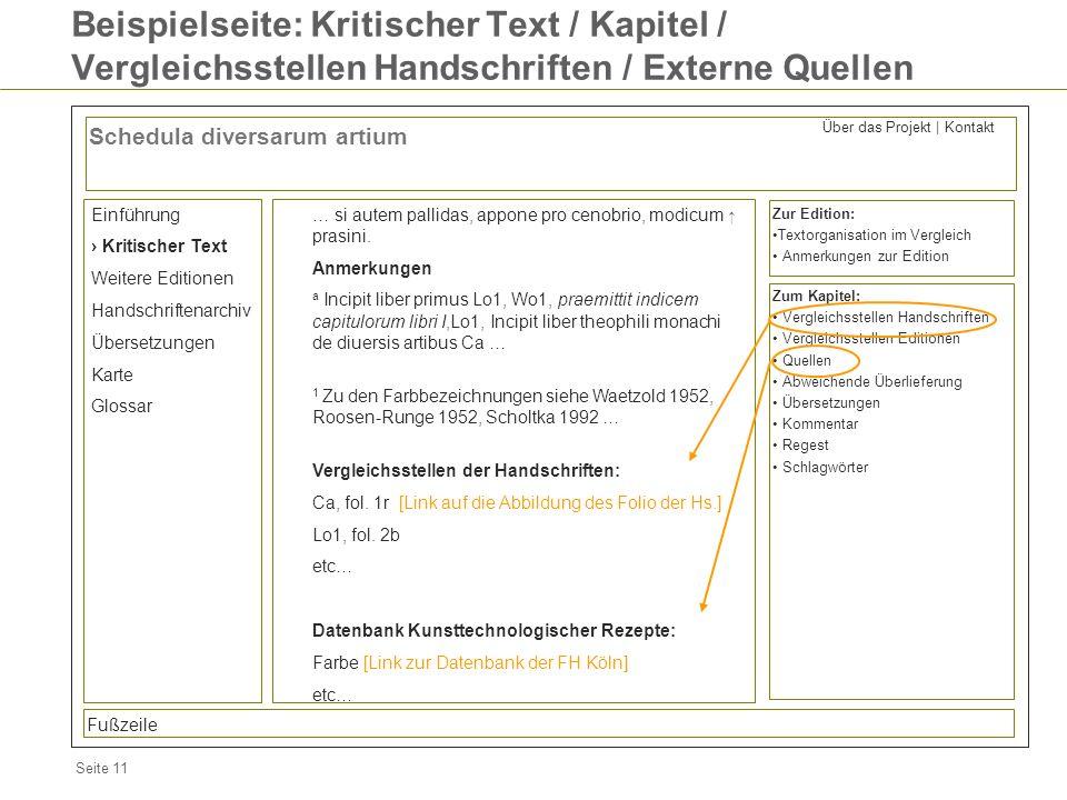 Seite 11 Beispielseite: Kritischer Text / Kapitel / Vergleichsstellen Handschriften / Externe Quellen Schedula diversarum artium Einführung Kritischer
