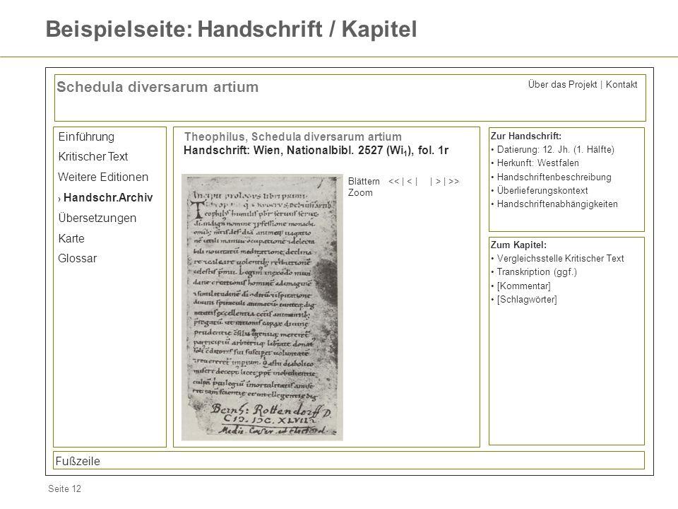 Seite 12 Beispielseite: Handschrift / Kapitel Schedula diversarum artium Einführung Kritischer Text Weitere Editionen Handschr.Archiv Übersetzungen Ka