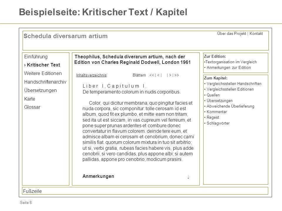 Seite 8 Beispielseite: Kritischer Text / Kapitel Schedula diversarum artium Einführung Kritischer Text Weitere Editionen Handschriftenarchiv Übersetzu