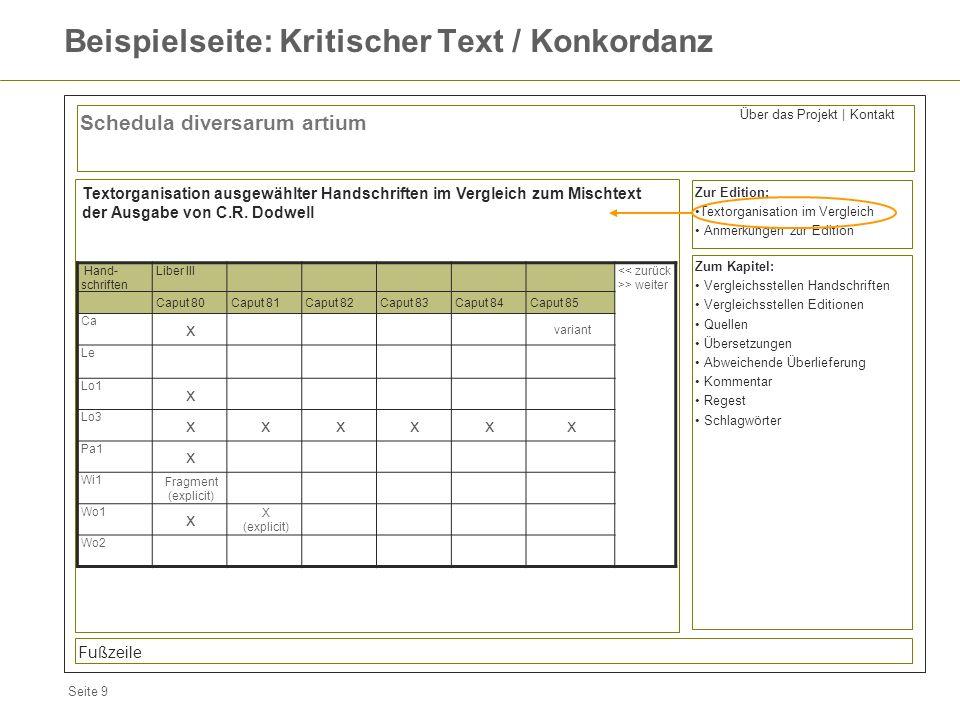 Seite 9 Beispielseite: Kritischer Text / Konkordanz Schedula diversarum artium Zur Edition: Textorganisation im Vergleich Anmerkungen zur Edition Fußz
